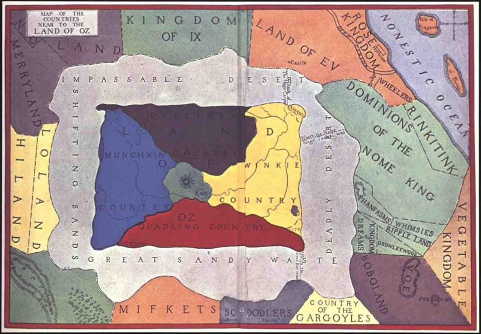 "John R. Neill's ""Map of the Countries Near to the Land of Oz."""
